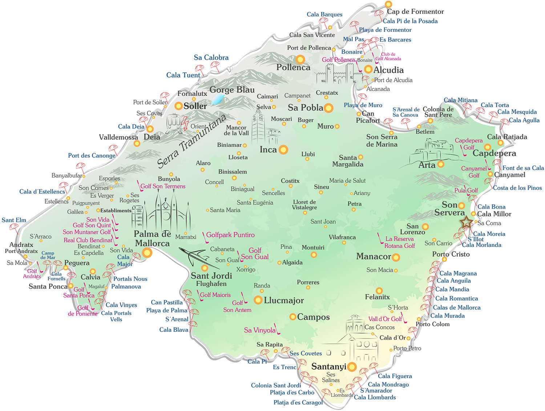 Mallorca Karte Sa Coma.Karte Sa Coma Mallorca Kleve Landkarte