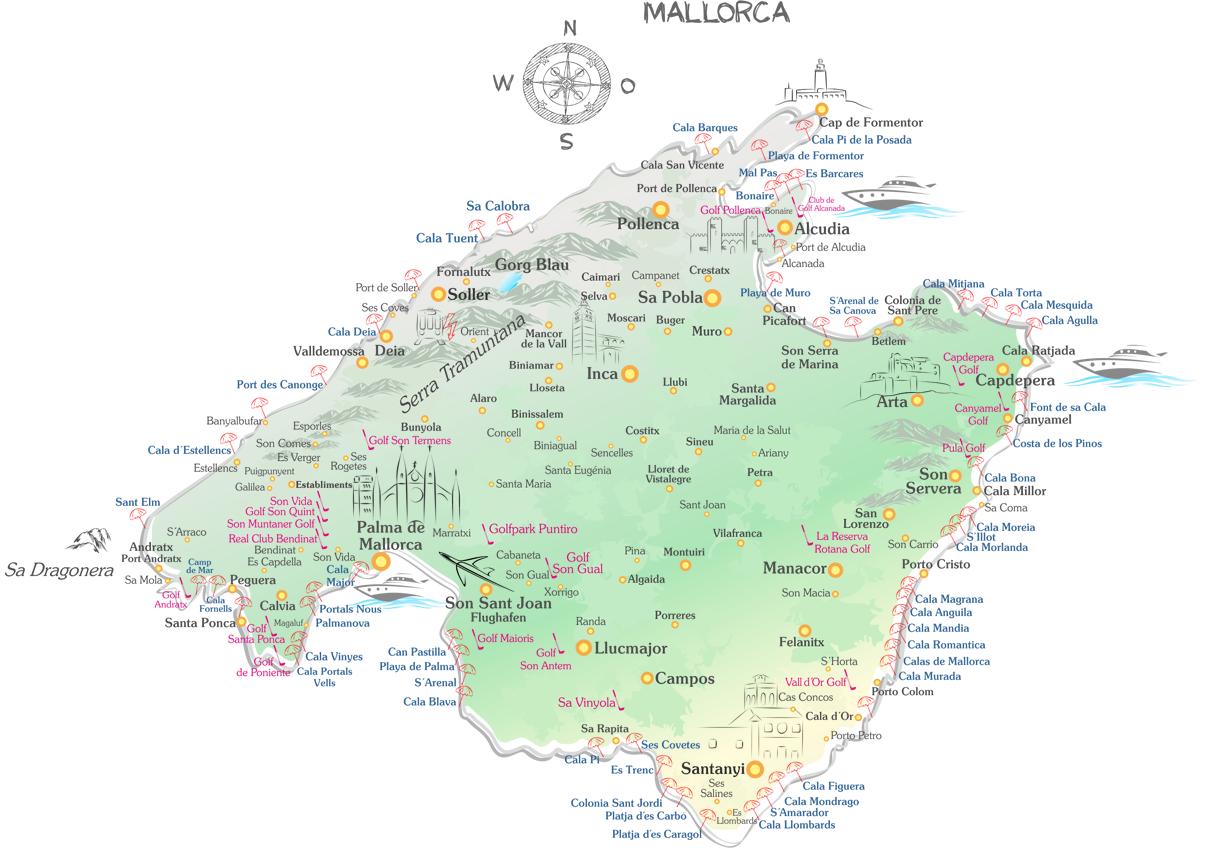 Porto Cristo Karte.Mallorca Reiseführer Mit Mallorca Karte Finca Ferienhaus